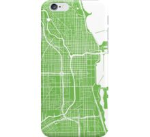 Chicago Map - Light Green iPhone Case/Skin