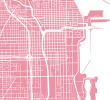 Chicago Map - Pink Sticker