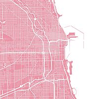 Chicago Map - Pink by CartoCreative