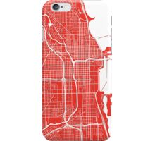 Chicago Map - Red iPhone Case/Skin