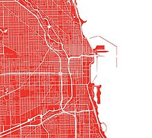 Chicago Map - Red by CartoCreative