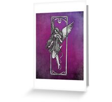 Gothic Angel Drawing with Purple Background Greeting Card