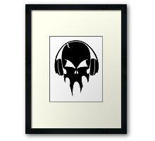 Skull with headphones - version 1 - black Framed Print