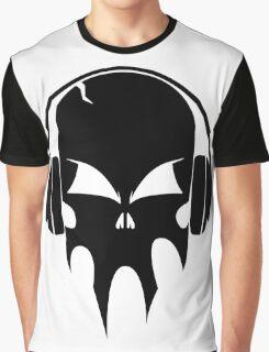 Skull with headphones - version 1 - black Graphic T-Shirt