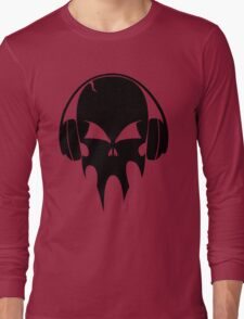 Skull with headphones - version 1 - black Long Sleeve T-Shirt