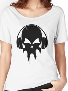 Skull with headphones - version 1 - black Women's Relaxed Fit T-Shirt
