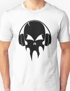 Skull with headphones - version 1 - black Unisex T-Shirt