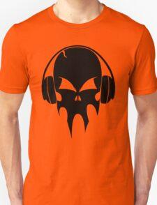Skull with headphones - version 1 - black T-Shirt