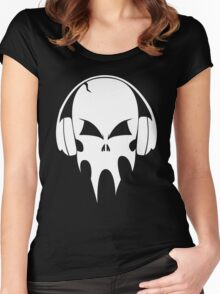 Skull with headphones - version 2 - white Women's Fitted Scoop T-Shirt
