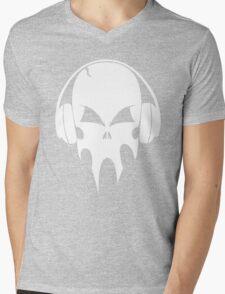 Skull with headphones - version 2 - white Mens V-Neck T-Shirt