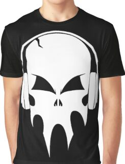 Skull with headphones - version 2 - white Graphic T-Shirt
