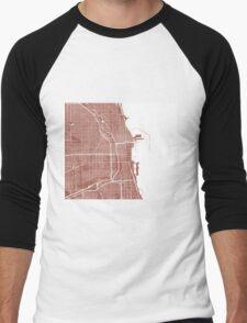 Chicago Map - Light Brown Men's Baseball ¾ T-Shirt