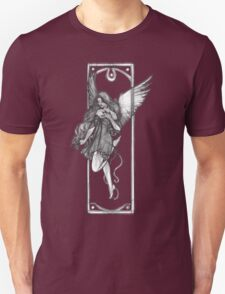 Gothic Angel Drawing with Purple Background T-Shirt