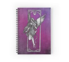Gothic Angel Drawing with Purple Background Spiral Notebook