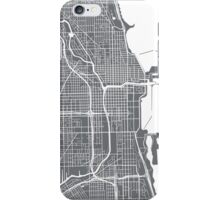 Chicago Map - Grey iPhone Case/Skin