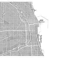 Chicago Map - Light Grey Photographic Print
