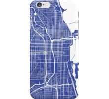 Chicago Map - Medium Blue iPhone Case/Skin