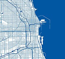 Chicago Map - Deep Blue Inverted by CartoCreative