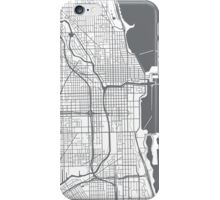 Chicago Map - Grey Inverted iPhone Case/Skin
