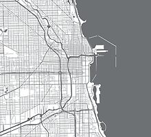 Chicago Map - Grey Inverted by CartoCreative