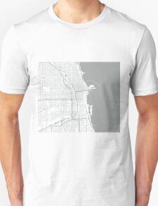 Chicago Map - Light Grey Inverted Unisex T-Shirt