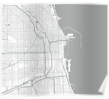 Chicago Map - Light Grey Inverted Poster