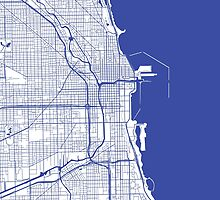 Chicago Map - Inverted Medium Blue by CartoCreative