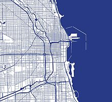 Chicago Map - Inverted French Blue by CartoCreative
