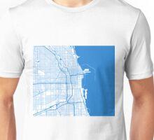 Chicago Map - Inverted Light Blue Unisex T-Shirt