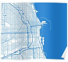Chicago Map - Inverted Light Blue Poster