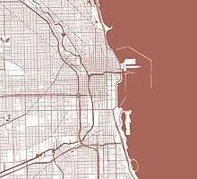Chicago Map - Light Brown Inverted by CartoCreative