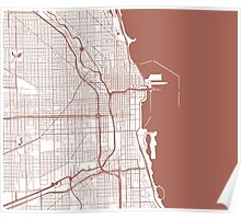 Chicago Map - Light Brown Inverted Poster