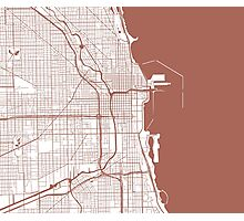 Chicago Map - Light Brown Inverted Photographic Print