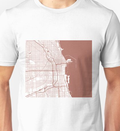 Chicago Map - Light Brown Inverted Unisex T-Shirt