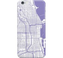 Chicago Map - Light Purple Inverted iPhone Case/Skin
