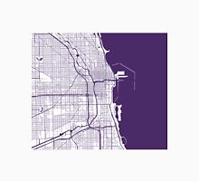 Chicago Map - Dark Purple Inverted Unisex T-Shirt