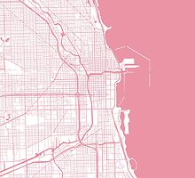 Chicago Map - Pink Inverted by CartoCreative