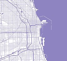 Chicago Map - Light Purple Inverted by CartoCreative