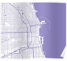 Chicago Map - Light Purple Inverted Poster
