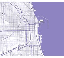 Chicago Map - Light Purple Inverted Photographic Print