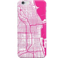 Chicago Map - Hot Pink Inverted iPhone Case/Skin