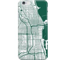 Chicago Map - Dark Green Inverted iPhone Case/Skin