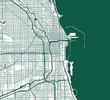 Chicago Map - Dark Green Inverted by CartoCreative
