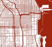 Chicago Map - Dark Red Inverted Sticker