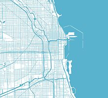 Chicago Map - Baby Blue Inverted by CartoCreative