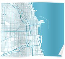 Chicago Map - Baby Blue Inverted Poster