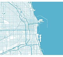 Chicago Map - Baby Blue Inverted Photographic Print