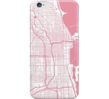 Chicago Map - Pink Inverted iPhone Case/Skin