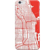 Chicago Map - Red Inverted iPhone Case/Skin