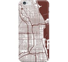 Chicago Map - Dark Brown Inverted iPhone Case/Skin